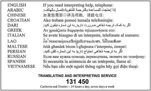 Translating and Interpreting Service Phone Number 131 450 - Canberra District - 24 hours a day, seven days a week