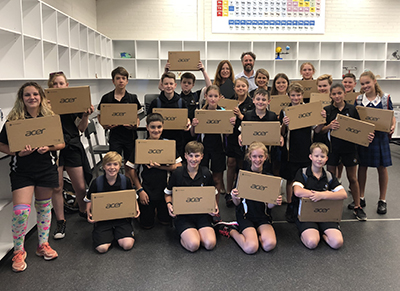 There were plenty of smiling faces as the new year 7 cohort at Mount Stromlo High School received their Chromebook devices today.