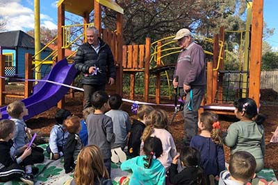 Preschool students at Hughes Primary School were excited to officially open their upgraded learning area earlier this week. The new play space, which includes new equipment and a protective shade sail, will allow the students to play and learn safely while also being protected from the elements.