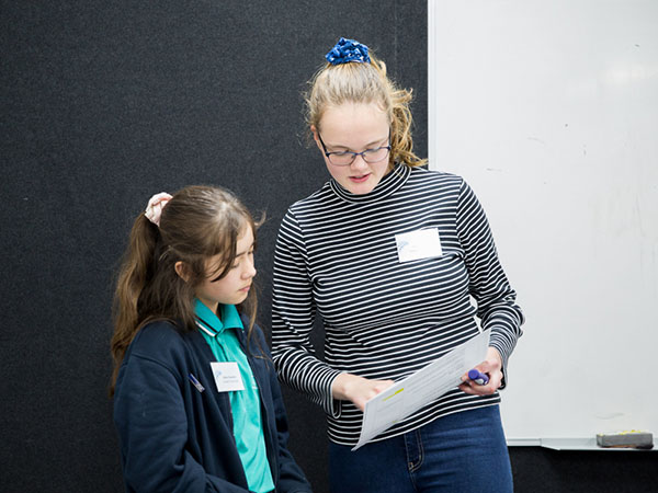 Nina Staunton from Palmerston Primary School (right) and Sophia Duve from Dickson College participating in the discussions at the Minister's Student Congress last week