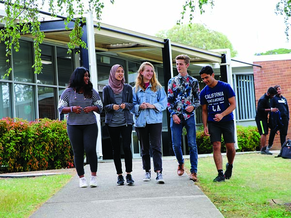 Narrabundah College students walking through their campus. The modernisation of that campus is now open for consultation.