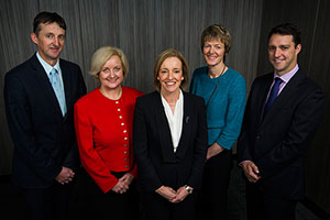 Photo of executive members of the Education and Training Directorate, from left to right, Mr Mark Whybrow, Ms Jayne Johnston, Ms Diane Joseph, Ms Leanne Cover and Mr Stephen Gniel.