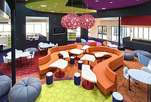 Photos showing colourful flexible open learning areas of new CCCares facility at Canberra College, Woden