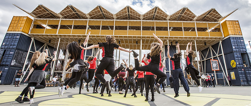 Photo of students of Campbell High School dancing at Canberra's Biggest Dance Jam event