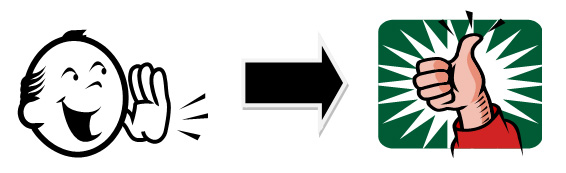 Person speaking, right arrow, thumbs up.