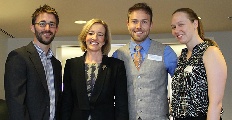 Photo of New Staff Induction February 2015, from left to right, Mr Matt Eyles, 2014 New Educator of the Year, Calwell High School; Ms Diane Joseph, Director-General; Mr Ryan Devlin, Hughes Primary