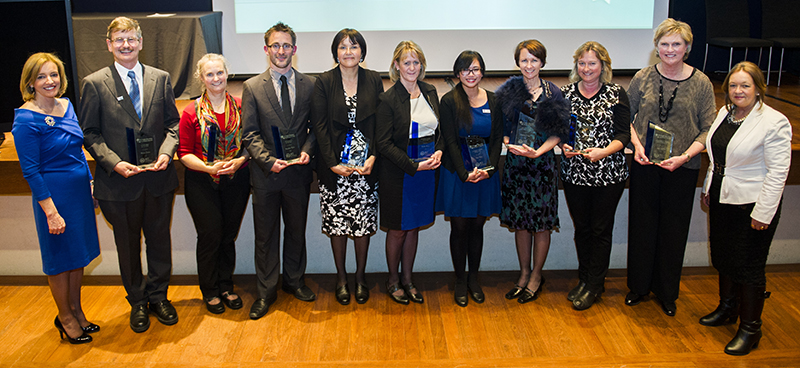 Photo of award recipients with Ms Diane Joseph, Director-General (far left) and Minister for Education and Training, Ms Joy Burch MLA