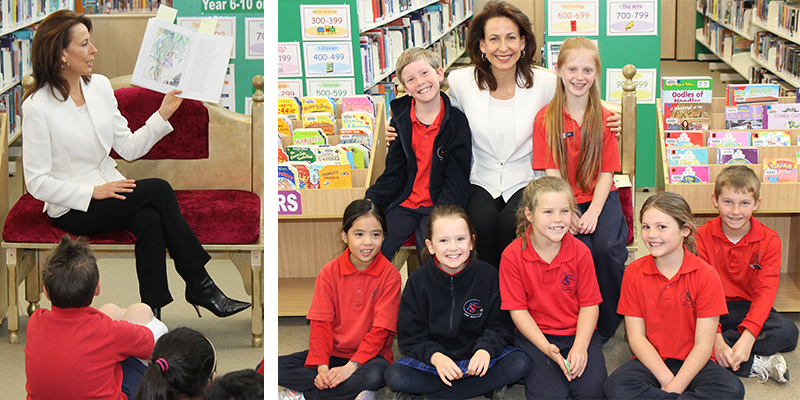Photo of Ms Virginia Haussegger, the face of local ABC TV News, reading a book to students of Amaroo School