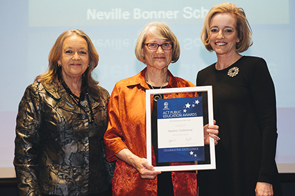 Minister for Education and Training, Joy Burch MLA and Education and Training Directorate Director-General, Diane Joseph with 2015 Volunteer of the Year, Heather Girdlestone