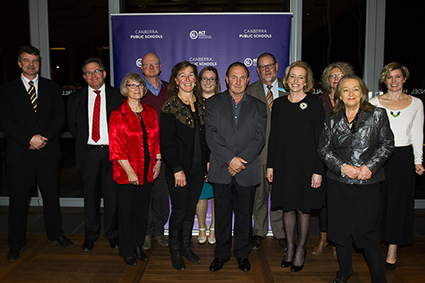 Group photo of all 2015 winners with Minister for Education and Training, Joy Burch MLA and Education and Training Directorate Director-General, Diane Joseph