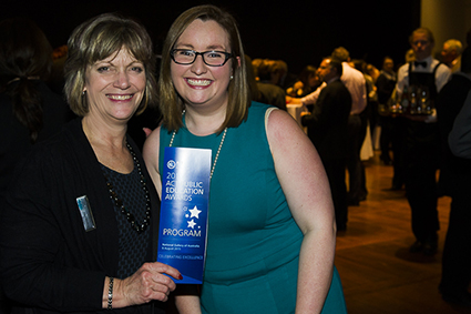 2015 New Educator of the Year, Ellie Templeton with Lake Tuggeranong College Principal, Julie Murkins.