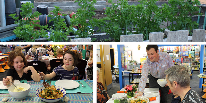 Photo of the student garden (top), and (bottom from left to right), students enjoying food produced and prepared through the program and coordinator, Todd McCoy, sharing food with a family group