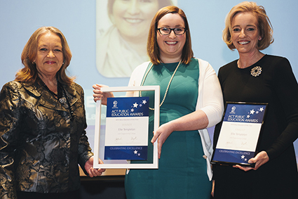 Minister for Education and Training, Joy Burch MLA and Education and Training Directorate Director-General, Diane Joseph with 2015 New Educator of the Year, Ellie Templeton