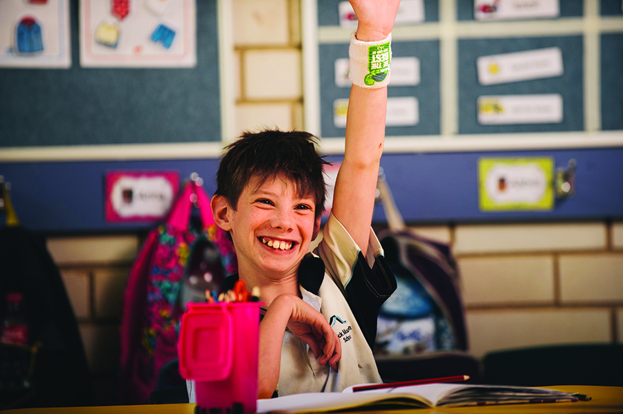 Photo of a boy student raising hand to answer a question in class at Black Mountain School