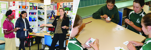 The entomologist Carol is playing a card game with students at at Mawson and Farrer Primary Schools