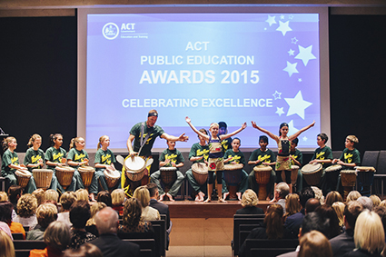 Red Hill School's African Drumming Group, Wassa Wassa Performing at the 2015 ACT Public Education Awards