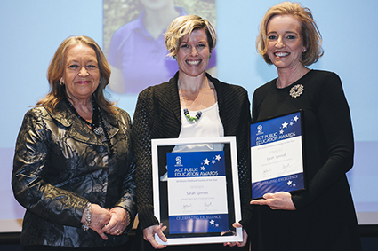 Minister for Education and Training, Joy Burch MLA and Education and Training Directorate Director-General, Diane Joseph with 2015 Early Childhood Teacher of the Year, Sarah Synnott