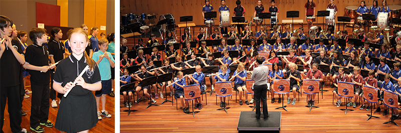 Photo of primary school students with musical instruments in Bandstravaganza event and  Photo of students playing musical instruments in an orchestra at the ANU School of Music
