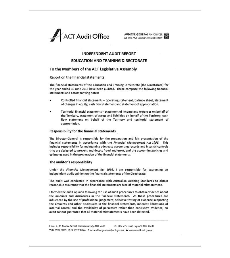 Finance Section audit letter signature block