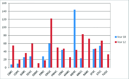 Figure showing the number of students receiving vocational certificates, by college and year level, 2015.