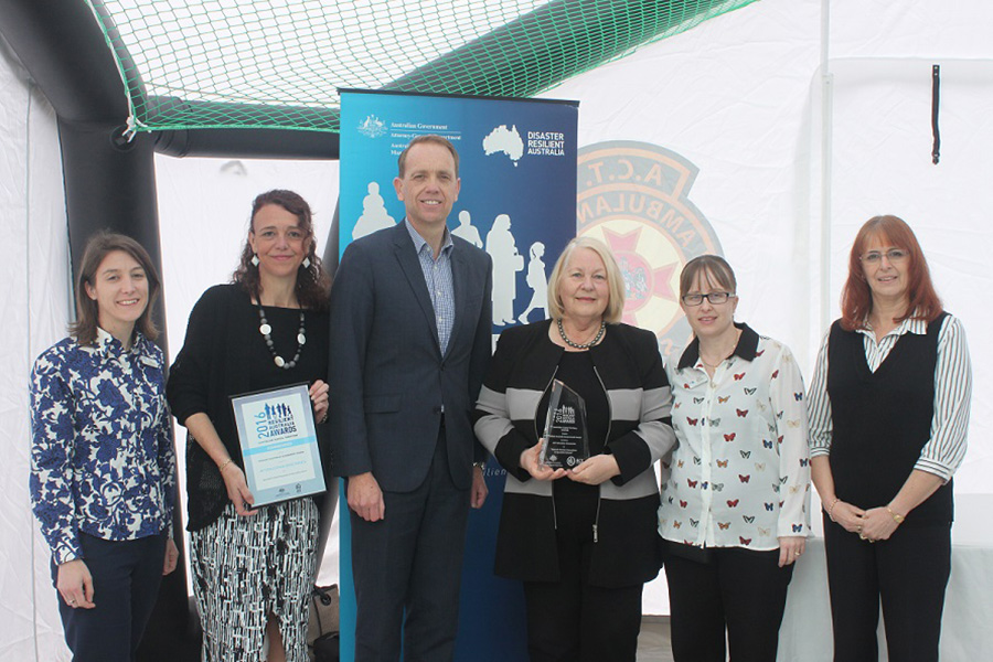 Photo of Directorate representatives at the 2016 Resilient Australia National Awards ceremony with the then Minister for Policy and Emergency Services, Simon Corbell MLA