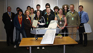 Group photo of Dickson College students and teachers with their Unmanned Airborne Vehicle program