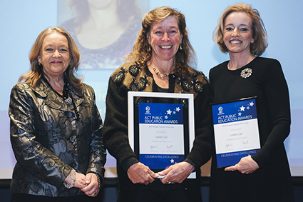 Minister for Education and Training, Joy Burch MLA and Education and Training Directorate Director-General, Diane Joseph with 2015 Primary Teacher of the Year, Leslie Carr