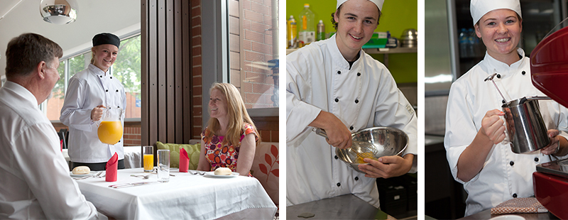Photo of secondary student serving clients in Hospitality class and Photo of male secondary student preparing food in Hospitality class and Photo of female secondary student preparing food in Hospitality class