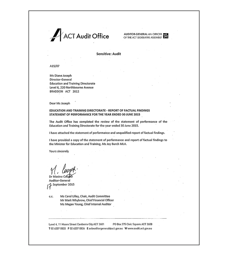 Statement of performance audit letter