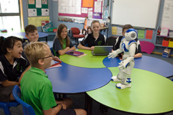 Photo of five primary school students sitting around a table observing a robot during a science and technology class at Bonython Primary School