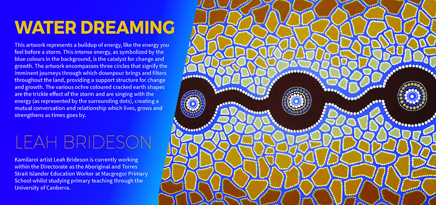 The image shows Leah Brideson's artwork Water Dreaming from the Directorate's Reconciliation Action Plan and the following text: