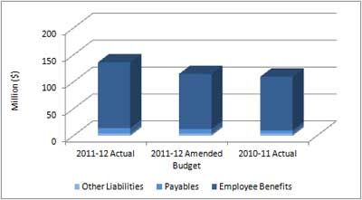 Graph showing the Directorate's liabilities.