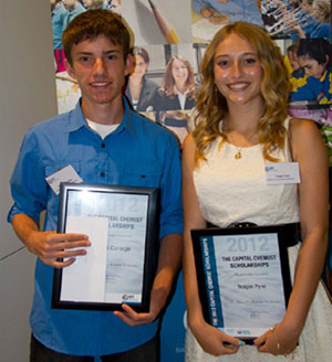 Photo of, left to right, Brodie Carnegie and Teagan Pyne, winners of Capital Chemist Awards