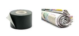 Picture of Gaffa tape and picture of roll of newspaper