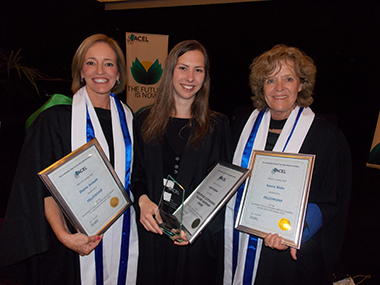 Photo of recipients of Australian Council of Leadership Awards; Diane Joseph Director-General, Jennie Holder teacher and Kerrie Blain Principal.