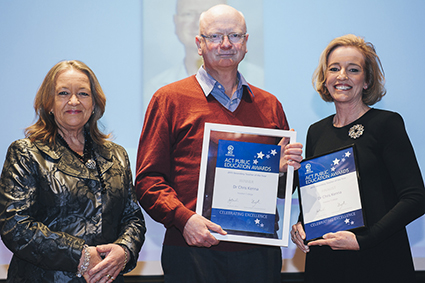 Minister for Education and Training, Joy Burch MLA and Education and Training Directorate Director-General, Diane Joseph with 2015 Secondary Teacher of the Year, Chris Kenna