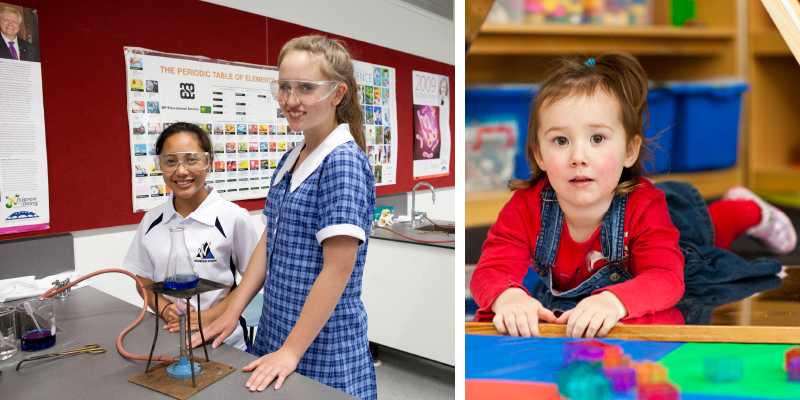 Photo of two girls conducting science experiment in laboratory at Wanniassa School and a Photo of girl using learning puzzles at Early Childhood Centre