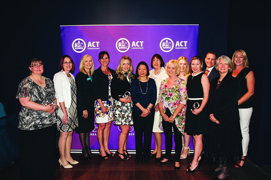 Photo of award recipients at the 2016 ACT Public Education Excellence Awards, with the Director-General Natalie Howson
