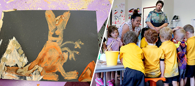 Aboriginal Artist Kristie Peters is a Wiradjuri woman and founder of Yarrudhamarra Creation visited Narrabundah Early Childhood School's Koori Preschool group.