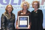 Minister for Education and Training, Joy Burch MLA and Education and Training Directorate Director-General, Diane Joseph with 2015 Outstanding Partnership of the Year Jenny Kitchin from Anglicare