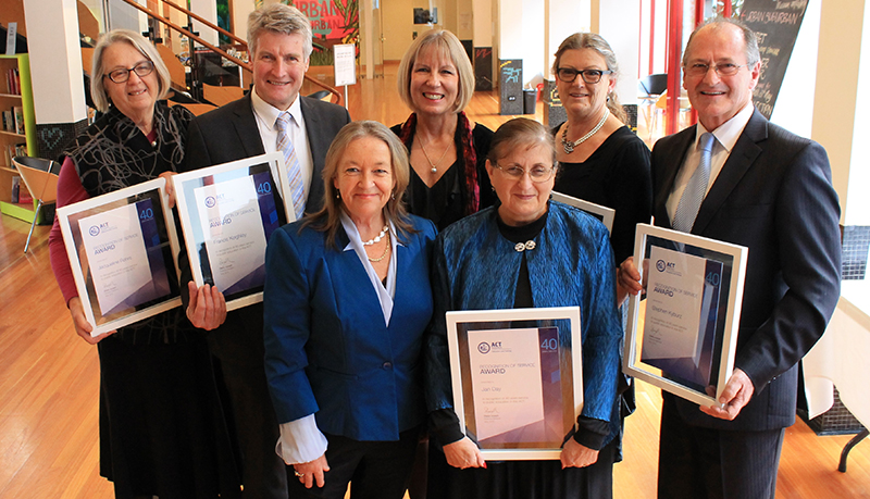 Photo of recipients of forty years Recognition of Service Certificates following presentation from Ms Joanne Garrisson, Acting Deputy Director-General Education Strategy, Back from left to right: Ms Jacqueline Rohrs, Curtin Primary School; Mr Frank Keighley, Hawker College; Ms Joanne Garrisson, Acting Deputy Director-General, Education and Training Directorate; Ms Jane Hubbard, Mount Stromlo High School; Mr Stephen Kyburz, Former School Network Leader. Front from left to right: Ms Joy Burch MLA; Ms Jan Day, Kingsford Smith School