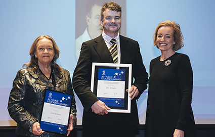 Minister for Education and Training, Joy Burch MLA and Education and Training Directorate Director-General, Diane Joseph with 2015 Leadership in Aboriginal & Torres Strait Islander Education of the Year, John Williams