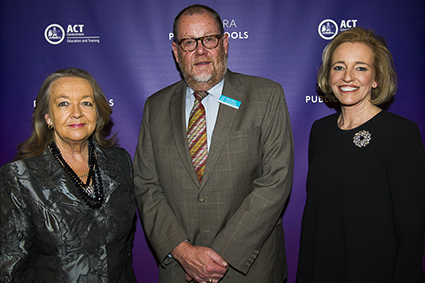 Minister for Education and Training, Joy Burch MLA and Education and Training Directorate Director-General, Diane Joseph with Kevin King from Teachers Mutual Bank