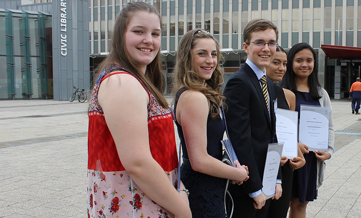 Photo of five Year 12 students holding the certificates they were awarded at the BSSS Year 12 Recognition of Excellence Awards