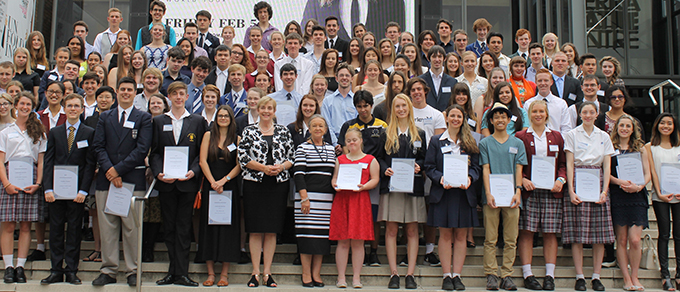 Photo of the award recipients from all ACT Senior Secondary Colleges at the BSSS Year 12 Recognition of Excellence Awards