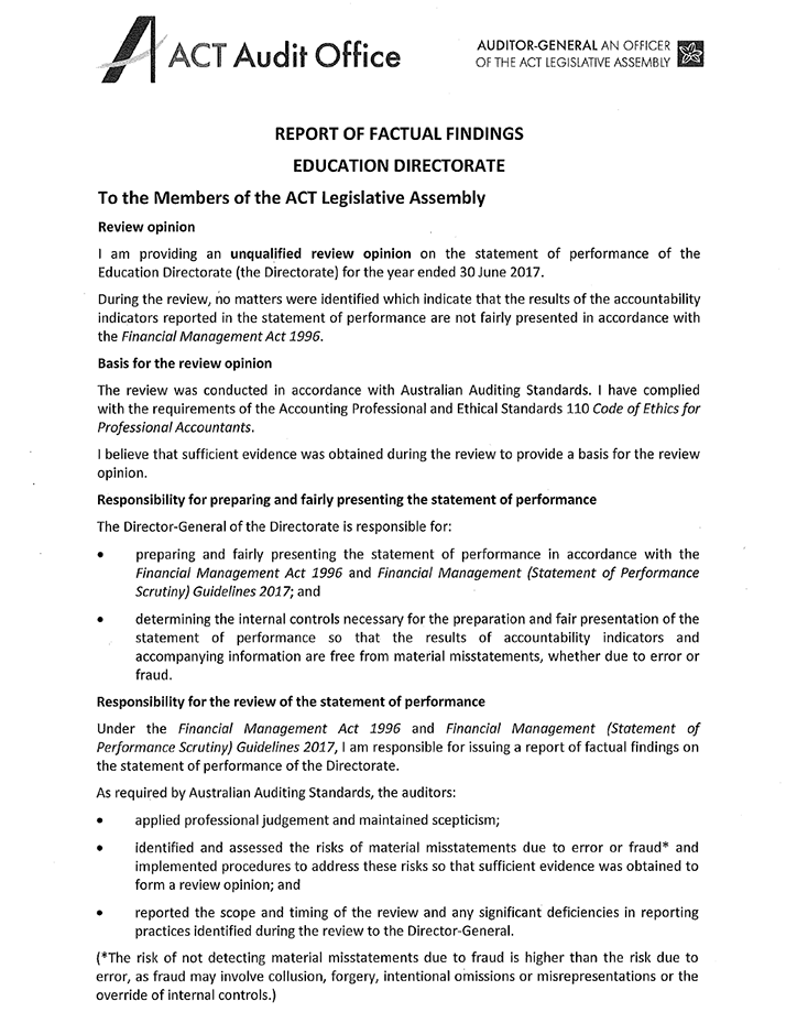 The image is of the scanned letter of the Report of Factual Findings Education Directorate to the Members of the ACT Legislative Assembly from the ACT Audit Office signed by Dr Maxine Cooper Auditor-General. If you would like assistance with accessing the contents of the letter please contact (02) 6205 4674.