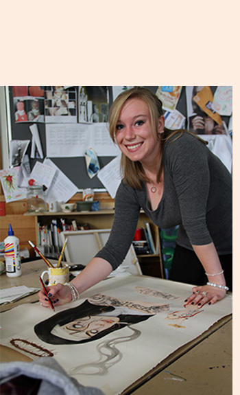 Photo of a female college student sketching