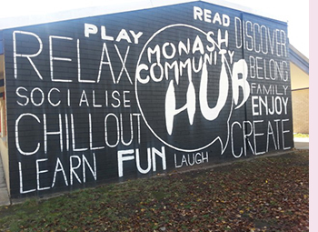 Photo of the signs painted on the wall of the Monash Community Hub at Monash Primary School