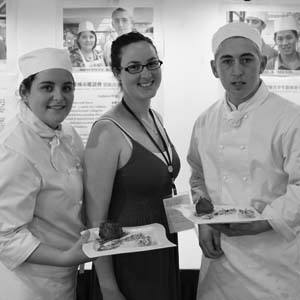Photo of Andria Bencich and Nathan Ballard, with their teacher Megan Lewis, from Erindale College who won a gold medal at the International Secondary Schools Culinary Challenge in Taiwan.