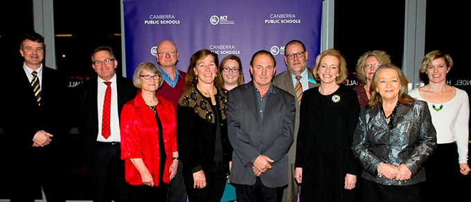 Photo of award recipients at the 2015 ACT Public Education Excellence Awards, with the then Director-General Diane Joseph, and the Minister for Education and Training at the time, Joy Burch MLA